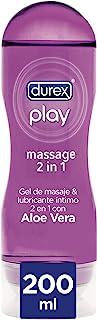 Durex Play Massage 2 en 1 Gel de Masaje Erótico y Lubricante Estimulante con Aloe Vera - 200 ml