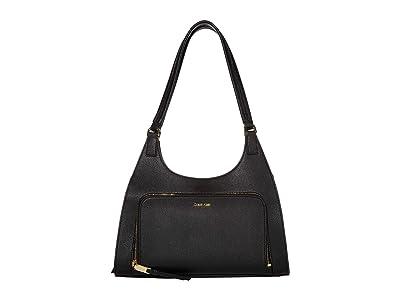 Calvin Klein Ava Saffiano Hobo (Black/Gold) Handbags