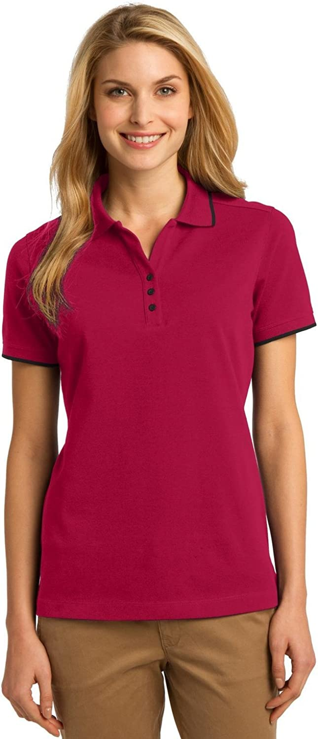 Port Authority Ladies Rapid Dry Tipped Polo. L454 Red/ Jet Black S