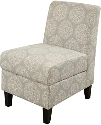 "Major-Q Accent Chair with Hidden Storage for Living Room/Bedroom, Solid Pattern, Espresso Finish Wooden Tapered Leg 22"" x 30"" x 36""H,"