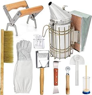 LTLR Beekeeping Honey Tools Starter Kit Set of 10 Hive Smoker Equipment Supplies