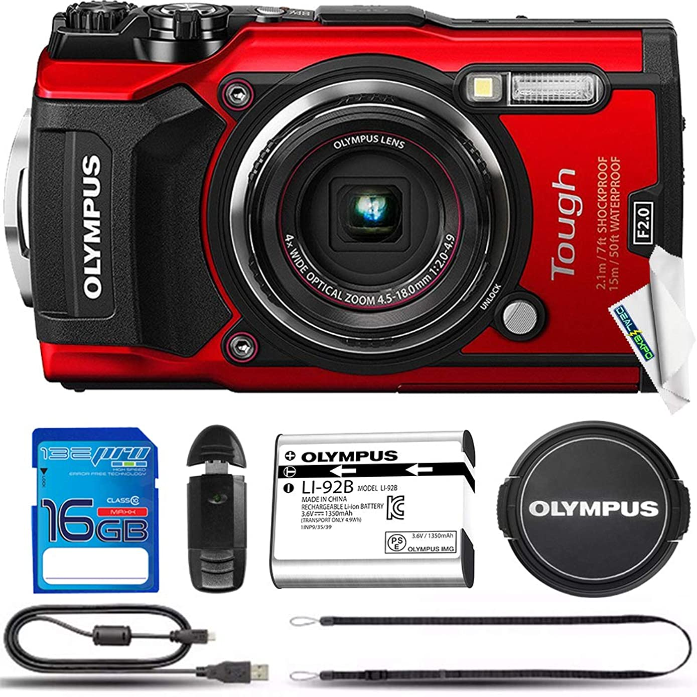 Olympus TG-5 Waterproof Camera 3-Inch LCD, Red - Deal-Expo Basic Accessories Bundle