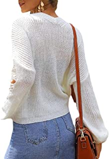 Women Solid Color V Neck Long Sleeve Knit Sweater