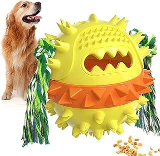 Hundespielzeugball, Backenzahnspielzeug für Hündchen, Behandeln Sie Spielzeugball als Quietschfutter undichtes Ball/Kauspielzeug/Zahnreinigungsball/Hüpfspielzeug mit Seil für das IQ-Training/Spielen