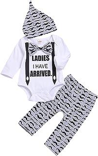 Misbeky Newborn Baby Boys Gentleman Letter Print Bowknot Romper+Beard Print Long Pants+Warm Hat Clothes Set Playsuit For 0-18Months