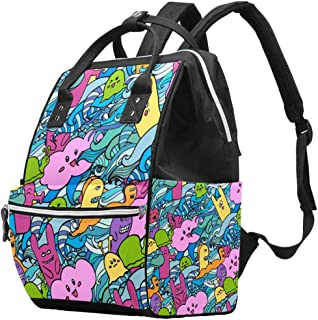 Diaper Bag Multi-Function Waterproof Travel Backpack Nappy Bags for Baby Care with Cartoon Monsters Doodles