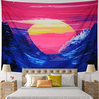 Leofanger Sun Tapestry Blue Mountain Tapestry Colorful Nature Landscape Wall Tapestry Watercolor Sunset Tapestry Wall Hanging for Bedroom Dorm Decor (Large-78.8