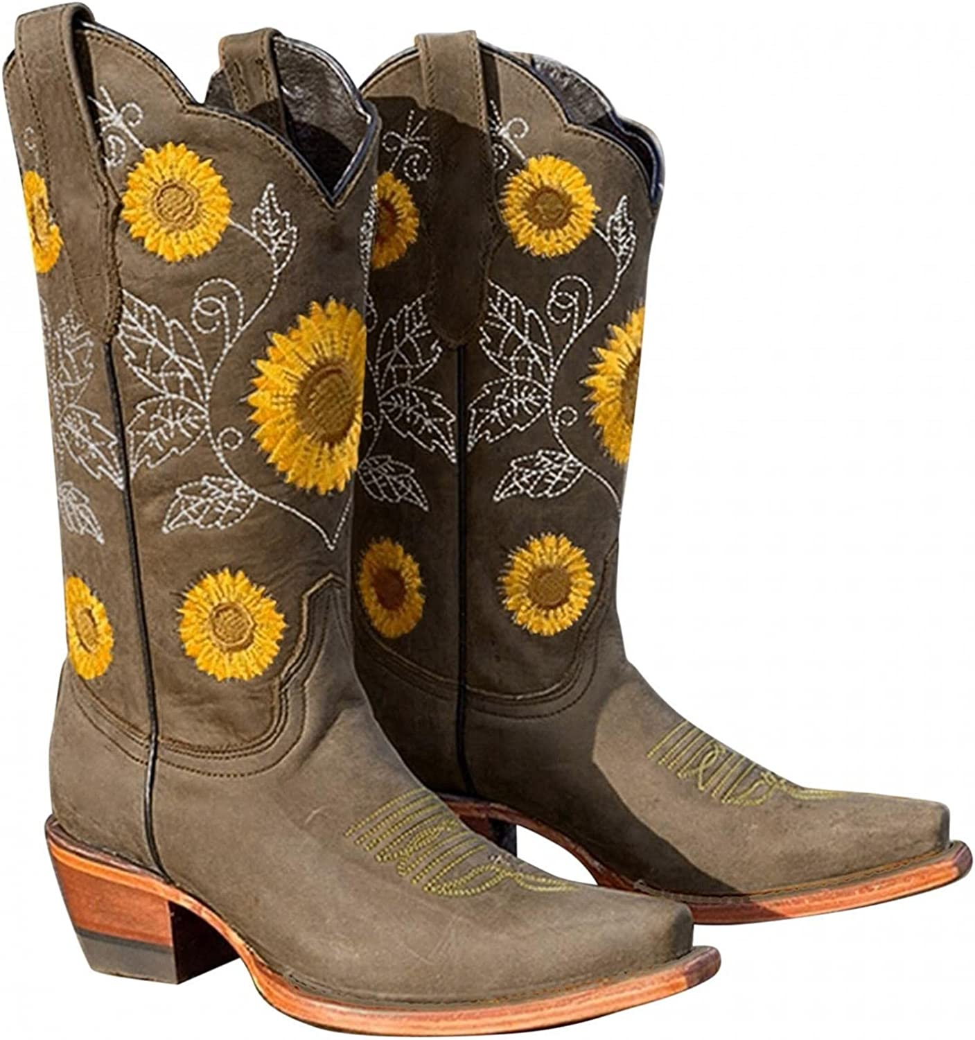 Gibobby Cowboy Boots for Women,Women Western Sunflower Embroidery Mid Calf Boots Low Heel Round Toe Slip On Cowgirl Boot