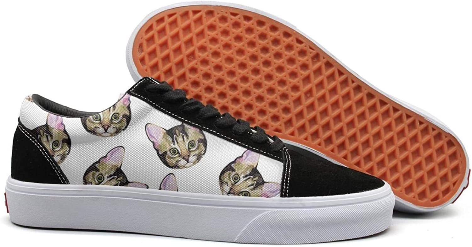 Uieort Trippy Cat Hipster Cat Womens Lace Up Sneakers shoes Rubber Sole