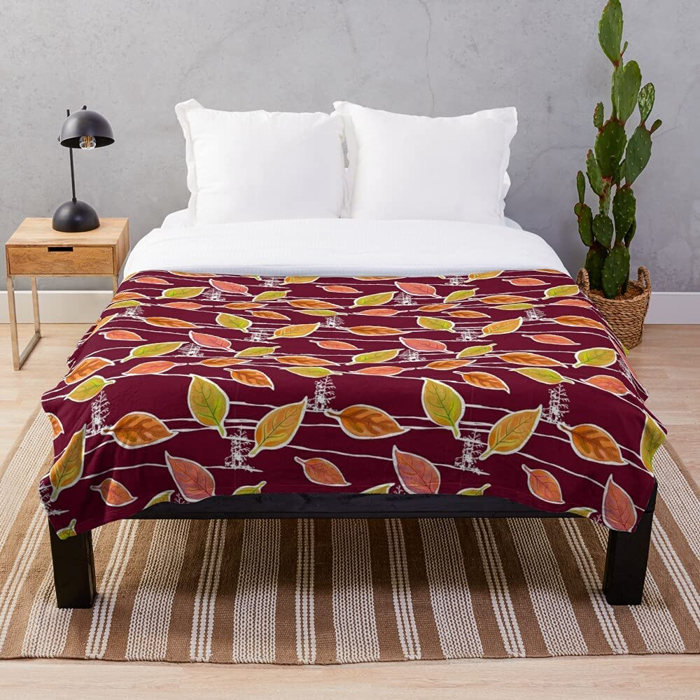 Fall Leaves On Burgundy Blanket with Design Omaha Mall Unique Sherpa Max 45% OFF Woven