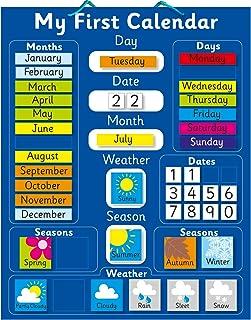 "Magnetic My First Learning Calendar - Blue Rigid board 16"" x"