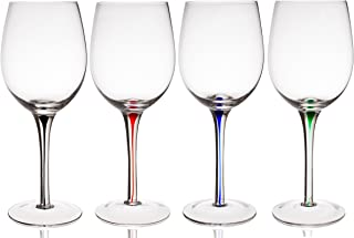 Trinkware Set of 4 Wine Glasses With Raindrop Stem in Red, Green, Blue And Black – Crystal Clear, 20oz, 9-inches Tall – Stem Colored Wine Glasses