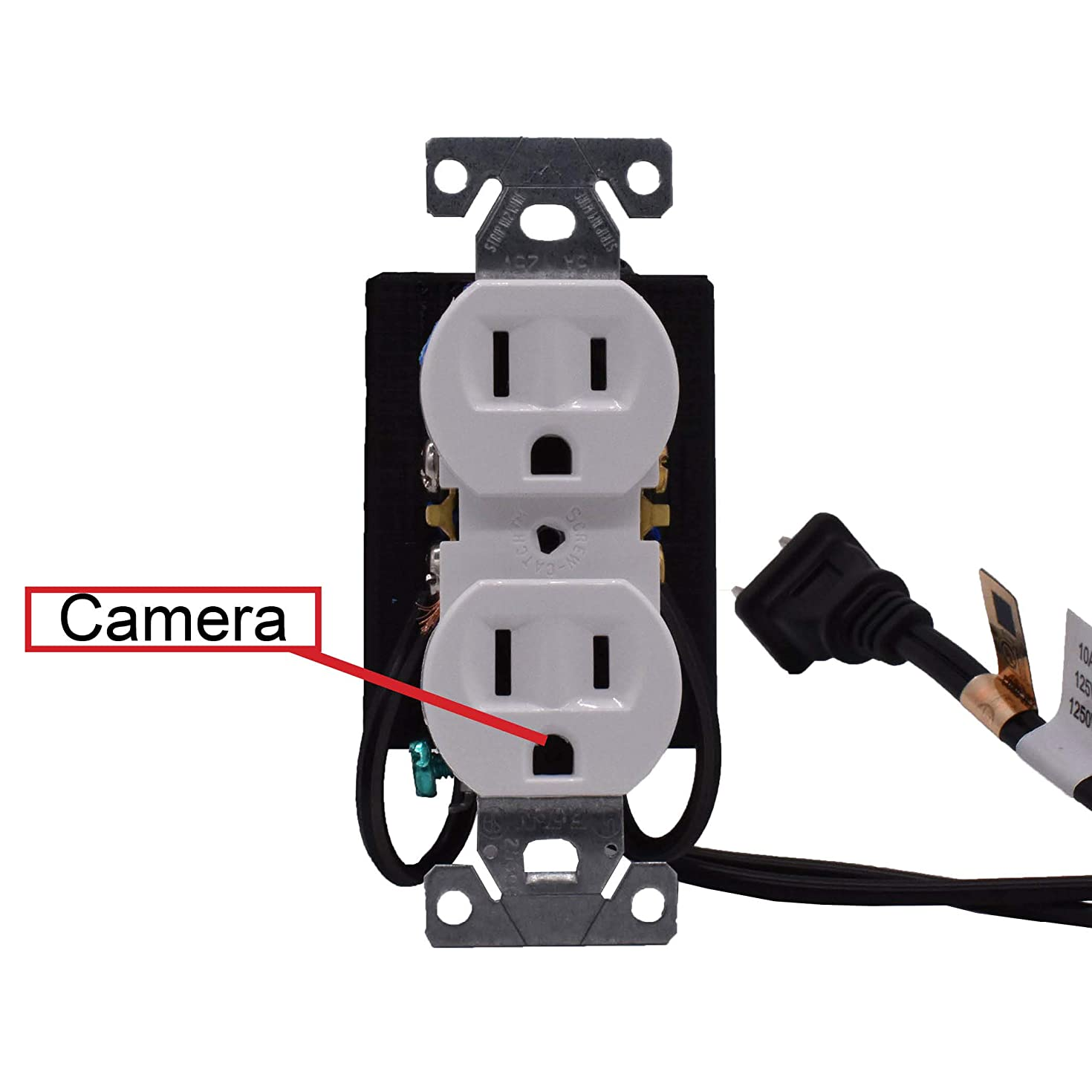 Minigadgets Functional Hardwired Receptacle Hidden Camera with WiFi and HD Video Free 128GB MicroSD Card