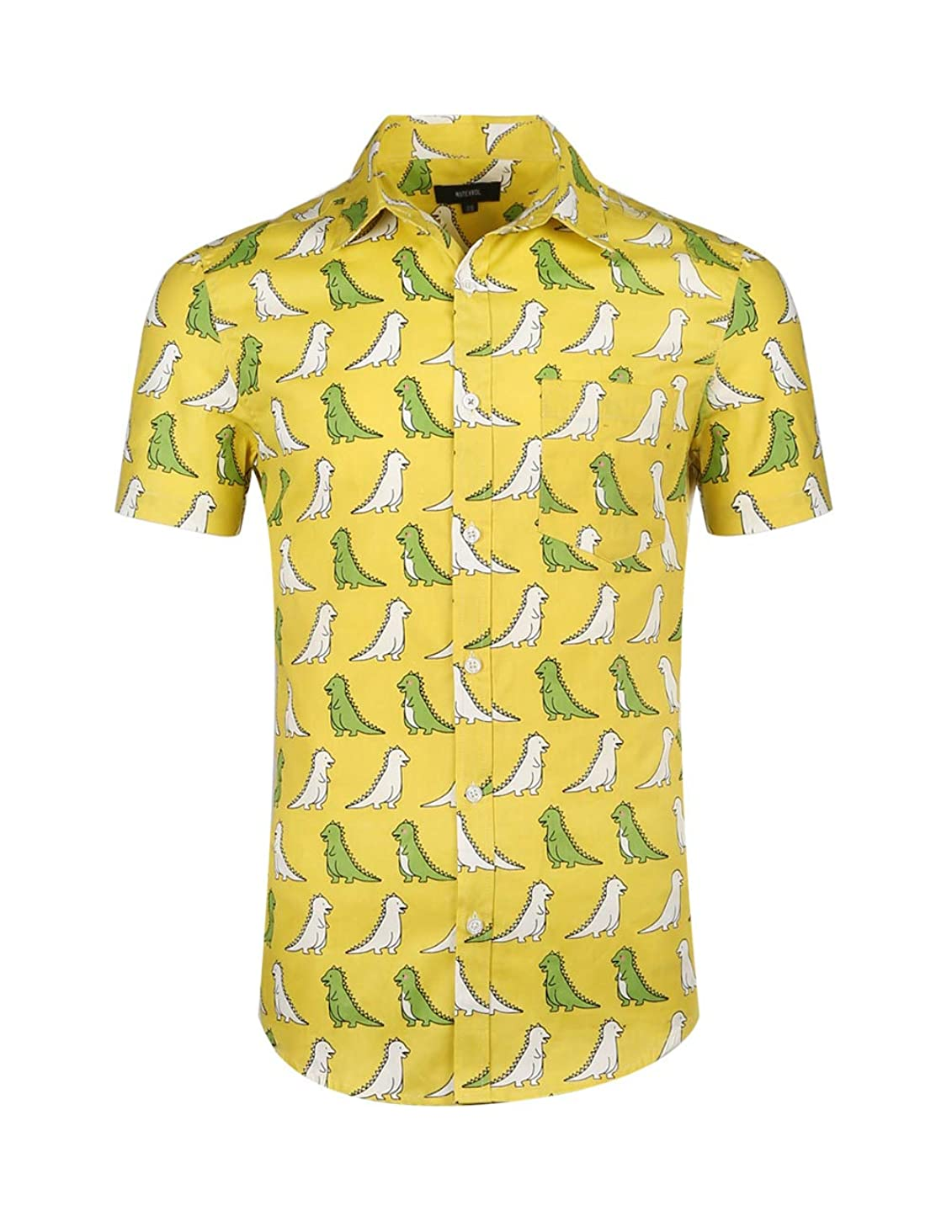 NUTEXROL Mens Hawaiian Shirts Standard-Fit Cotton/Polyester Palm Tree Printed Beach Wear