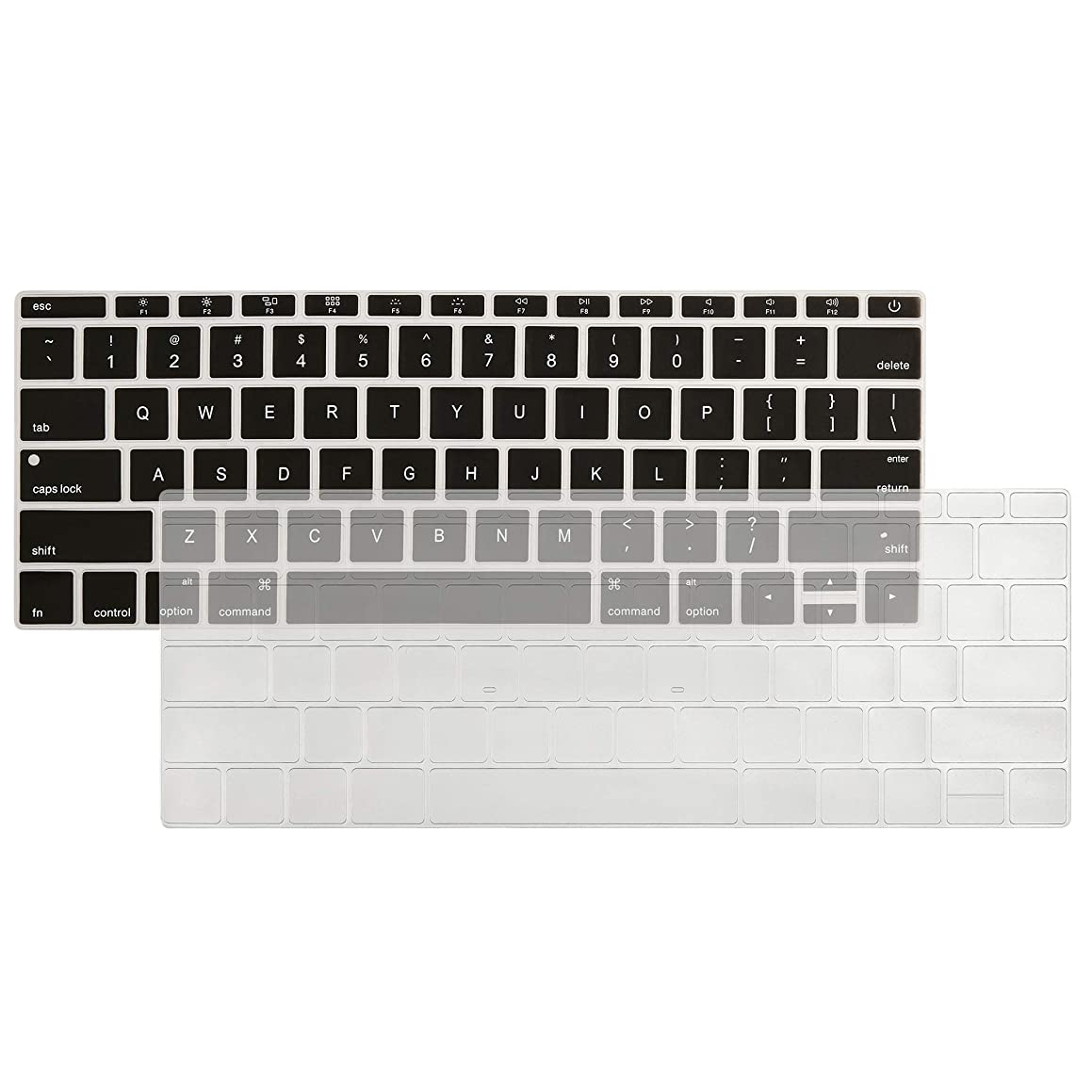 Mackbook Silicone Keyboard Cover 2PCS Ultra Thin TPU Keyboard Cover Sleeve Skin for A1708 Without Touch Bar, New MacBook 12 Inch A1534 Protective Skin (Black Silicon+Clear TPU Covers)
