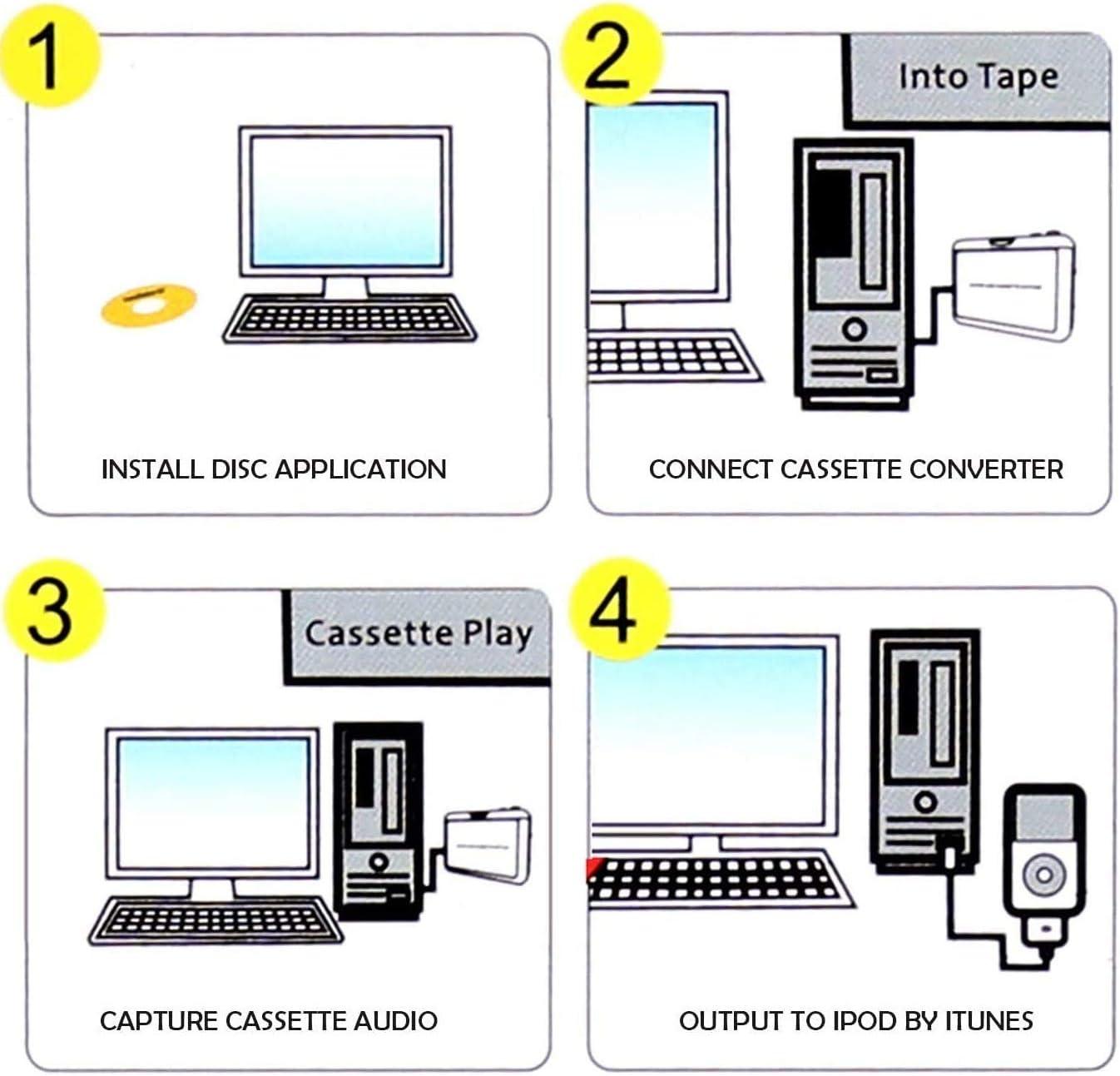 Compatible con Mac//PC Walkman Reproductor de Cassette Portable Convierte los Cassettes de Audio a los Cassettes de MP3 Digitales RMFC USB Convertidor Cinta a MP3 and Cassette Player