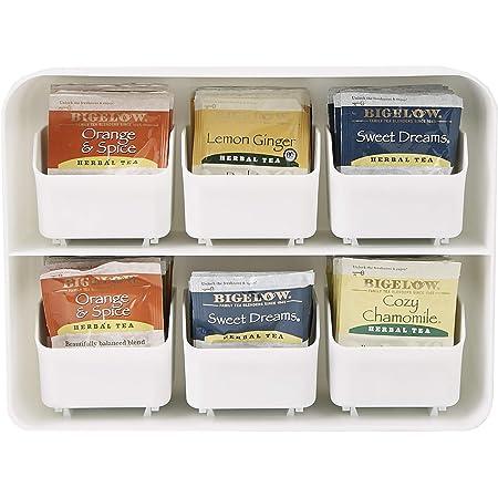 Mind Reader - Organizador para bolsas de té con 6 cajones, color blanco