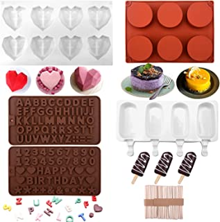 Beusoft Chocolate Molds Silicone Set - Diamond Heart Chocolate Mold, Letter Number Molds, Round Cylinder Mold, Popsicle Mo...