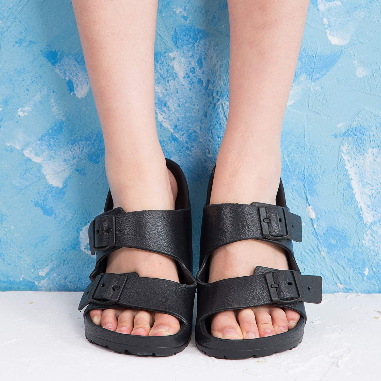 DL Womens EVA Slides Sandle Adjustable Double Buckle Flat Sandals for Women Slide On Summer Shoes Lightweight Waterproof Beach Slide Slippers Non-Slip
