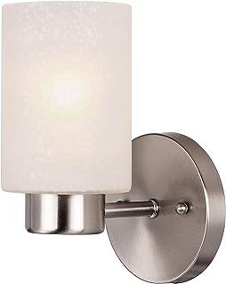 Westinghouse 6227840 Éclairage 62278 Luminaire Mural d'intérieur Sylvestre à Une Lampe, Finition Nickel brossé avec Verre ...