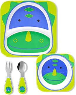 Skip Hop Baby Dishes and Utensil Set, Zoo, Dinosaur 4 Count (Pack of 1)
