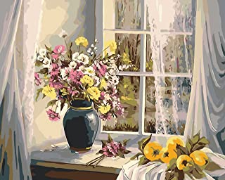 Paint by numbers kit, wooden framed, DIY oil painting - Summer morning (16x20 inch.)