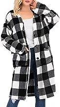 Women Fashion Plaid Cardigan Button Blouse Loose Long Sleeve Pocket Jacket Coat