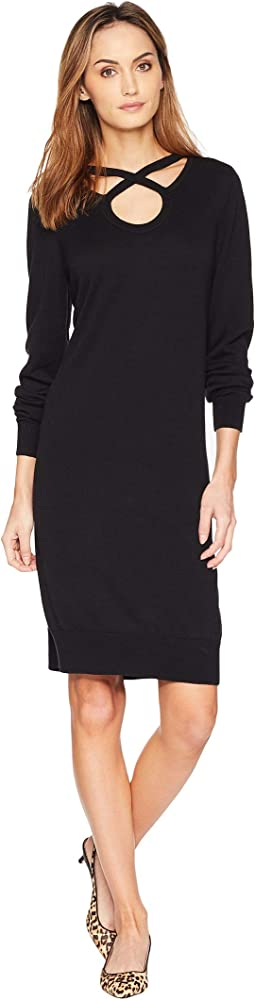 Cut Out Neck Long Sleeve Dress