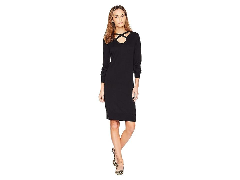 MICHAEL Michael Kors Cut Out Neck Long Sleeve Dress (Black) Women