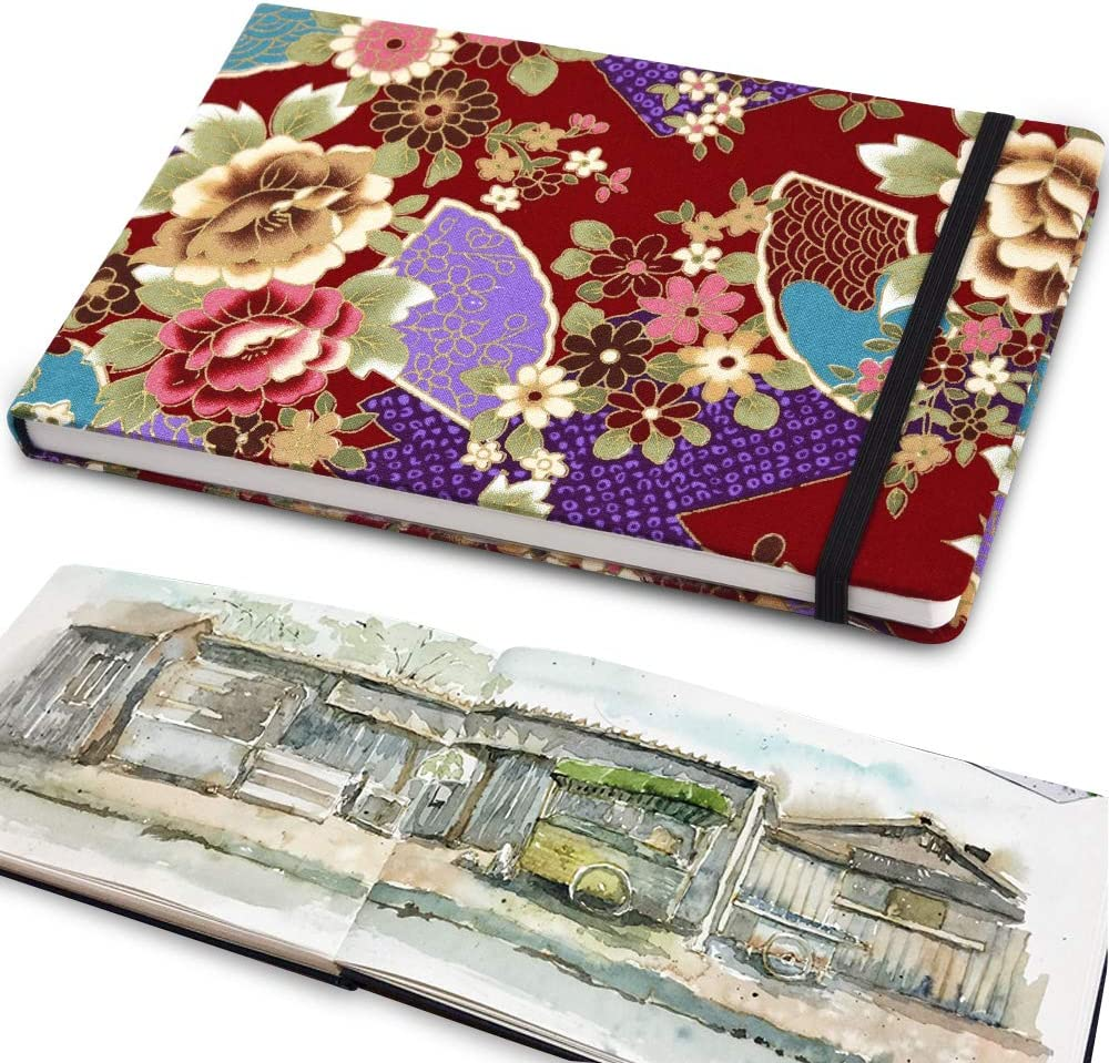 5 x 8 220gsm Watercolor Journal Hardbound 80pgs(40 Sheets Front Back 2 Textures)/Watercolor Writing Notebook with Pocket for School /& Office Supplies