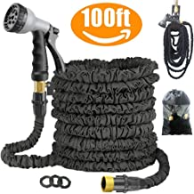 Expandable 100FT Garden Hose Pipe - Lightweight, Durable& Felxible - 8 Function Spray Gun/Hose Hanger/Storage Bag/Brass Fi...