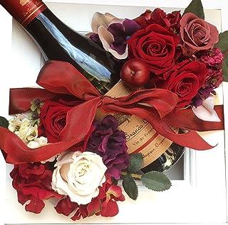 還暦祝い 花 赤ワイン 花とワイン 赤バラ 結婚祝い 古希祝い お祝い ワインギフト ショコラ色額縁アレンジ フランス政府公認の赤ワイン