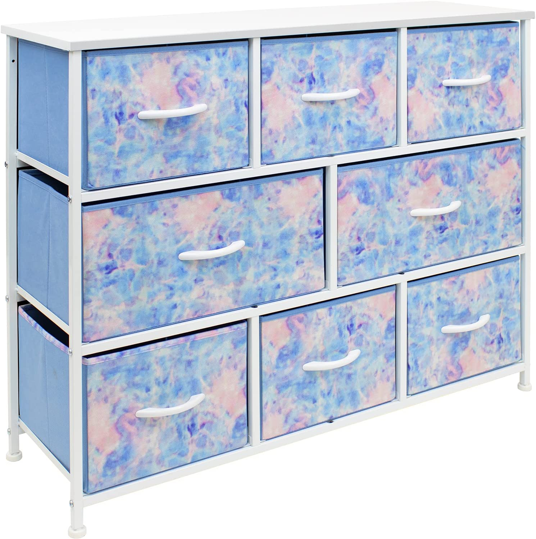 Sorbus Dresser - Furniture Storage Chest for Kids Clothing Organization, Large Organizer for Playroom, Nurseries, Bedroom, Hallway, Closet, Steel Iron Frame, Wood Top, 8 Fabric Drawers (Toe-dye Blue)