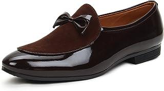 BUWCH Men Formal Brown Synthetic Leather Loafer & Mocassins Shoe-10UK