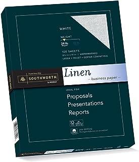 Southworth Linen Business Paper, White, 24 Pounds, 100 Count (P554CK)