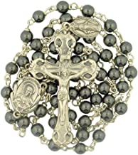 Creed Hematite Prayer Bead Sacred Heart Rosary with Dangling Miraculous Medal, 19 Inch