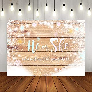 Winter He or She Wood Floor Backdrop Christmas Gender Reveal White Snowflake Glitter Mason Jars Bottle Background Xmas Boy or Girl Gender Reveal Baby Shower Party Decorations Banner Photo Booth Props