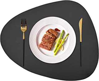 JTX Placemats Set of 2 Round Leather for Dinner Table Mats Heat-Resistant Non-Slip Washable Insulation Coffee Mats Kitchen Place Mats Nordic Style Placemats(Grey, Large)