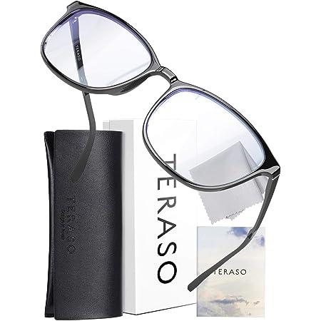 TERASO ブルーライトカットメガネ おしゃれ【眼科検査技師推薦】超軽量 JIS規格 43% UV99% Tr90 パソコン用 だてめがね