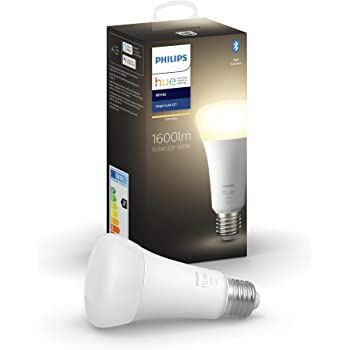 Philips Hue White Lampadina Smart, 15.5 W equivalente a 100 W, con Bluetooth, Luce Bianca Calda, Attacco E27
