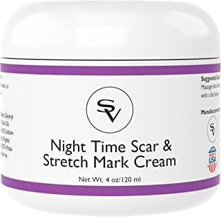 Night Time Stretch Mark & Scar Cream | Powerful Stretch Mark Remover Cream and Acne Scar Remover Cream | Infused w/Vitamin C and Hyaluronic Acid For Quick Results | Made in USA
