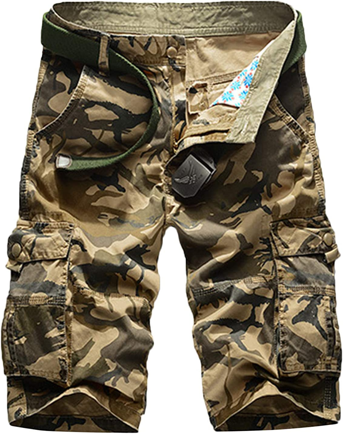 Springrain Men's Spring Summer Casual Beach Style Camouflage Cargo Shorts Large Size Multiple Pockets Five Pants