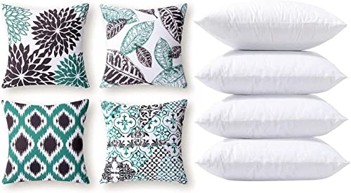 2021 Phantoscope outlet sale Bundles, Set of 4 New Living Series Blue and Black Pillow Covers 18 x sale 18 inches & Set of 4 Pillow Inserts 18 x 18 inches online sale