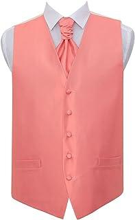 DQT Men Solid Check Plain Wedding Waistcoat & Cravat Set