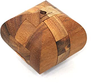 SiamMandalay Ascher: Handmade & Organic 3D Brain Teaser Wooden Puzzle for Adults from with SM Gift Box(Pictured)