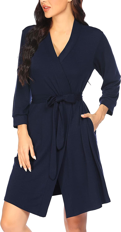 PEATAO Damen Morgenmantel Schlafshirt Baumwolle Kimono Nachthemd Negligee Robe V-Ausschnitt Leichte Pyjama Kurzstrickbadem/äntel Kurz Saunamantel mit Tasche