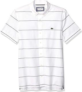 Lacoste Men's S/S Striped Oxford Cotton/Linen Slim Fit Button Down Collar