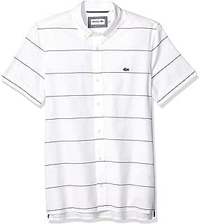 Lacoste Men's S/S Striped Oxford Cotton/Linen Slim FIT Button Down Collar Shirt, White/Navy Blue, XL2XL