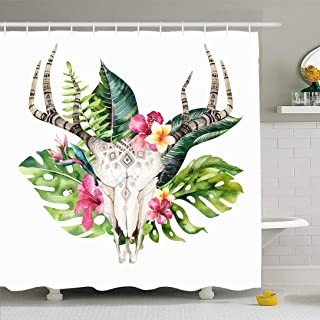 Ahawoso Shower Curtain Set with Hooks 72x78 Watercolor Tattoo Cow White Skull Tropic Palm Antlers Feather Animals Wildlife Flower Bull Nature Waterproof Polyester Fabric Bath Decor for Bathroom