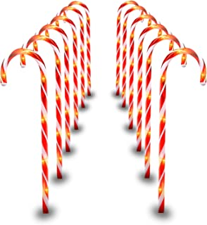 29 Inches Christmas Candy Cane Pathway Markers Set of 12 Christmas Indoor/Outdoor Decoration Lights 8 Blinking Modes